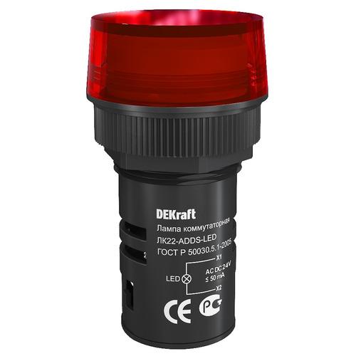 Лампа ADDS 22мм красная LED 24В