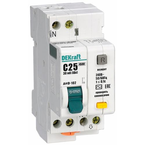 Выключатель автоматический дифференциального тока (АВДТ) 1п+N 6А 30мА тип AC С 4.5кА ДИФ-102