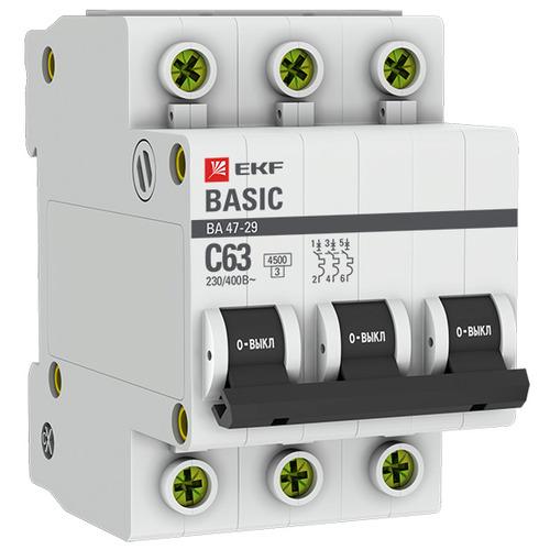 Выключатель автоматический 3п (трехполюсный) 25А C 4,5кА ВА 47-29 Basic