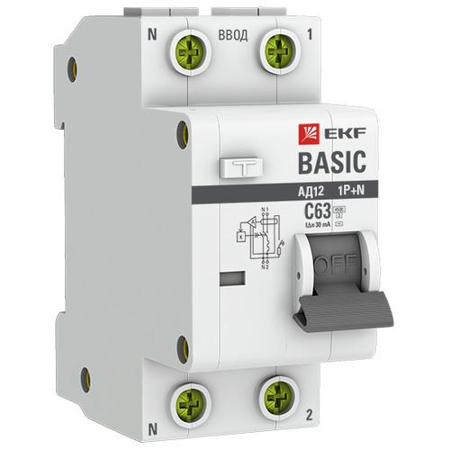 Выключатель автоматический дифференциальный АД-12 1P+N 25А 30мА C 4,5кА АС Basic