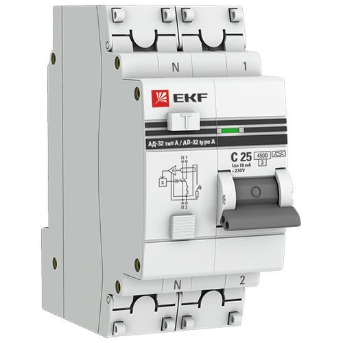 Выключатель автоматический дифференциальный АД-32 1P+N 32А 30мА C 4,5кА AC PROxima