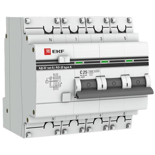 Выключатель автоматический дифференциальный АД-32 3P+N 63А 30мА C 4,5кА AC PROxima