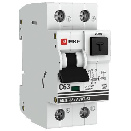 Выключатель автоматический дифференциальный АВДТ-63 2п 16А 30мА С 6кА A PROxima