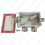 Коробка монтажная огнестойкая КМ-О (8к)-IP66-d усиленная, четыре ввода: 3хØ13-18мм, 1хØ6-12мм, Гефест