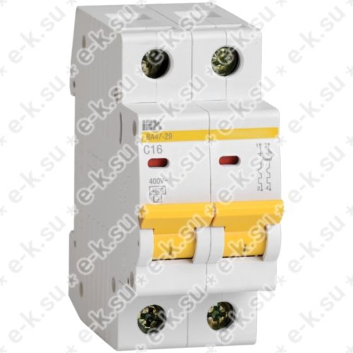 Выключатель автоматический 2п (двухполюсный) 20А С 4,5кА ВА47-29