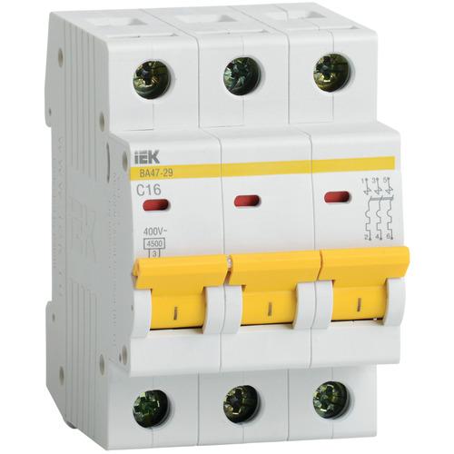 Выключатель автоматический 3п (трехполюсный) 16А B 4,5кА ВА47-29