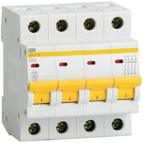 Выключатель автоматический 4п (четырёхполюсный) 50А С 4,5кА ВА47-29