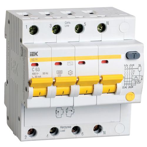 Выключатель автоматический дифференциальный АД14 4п 25А 100мА С