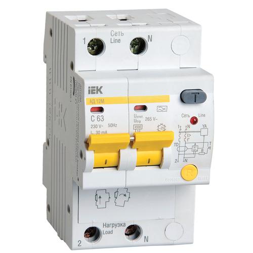 Выключатель автоматический дифференциальный АД12М 2п С25 30мА