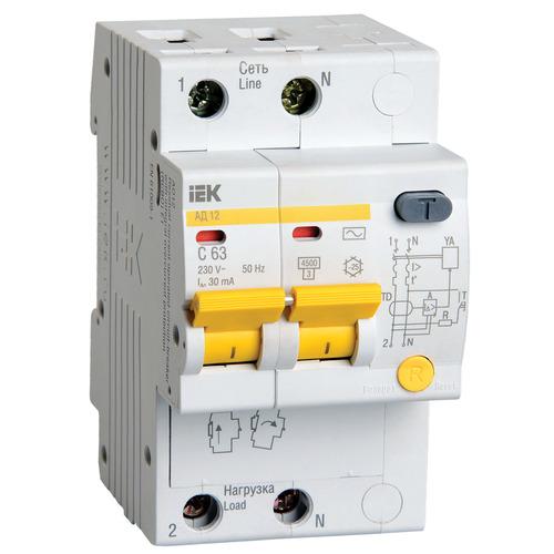 Выключатель автоматический дифференциальный АД12 2п 63А 30мА С