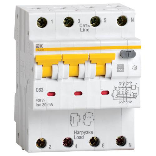 Выключатель автоматический дифференциальный АВДТ34 3п+N C16 30мА