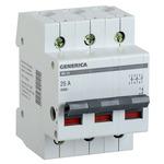Выключатель нагрузки (мини-рубильник) 3п ВН-32 100А GENERICA (MNV15-3-100)