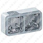 Plexo Коробка наружная 2 поста IP55 горизонтальная серая