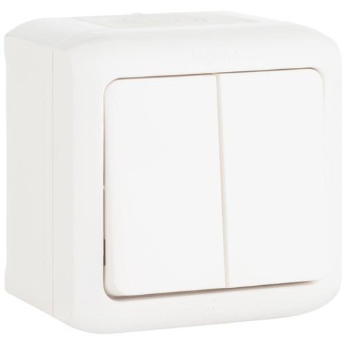 Quteo Выключатель двухклавишный наружный IP44 белый 10А (782302)