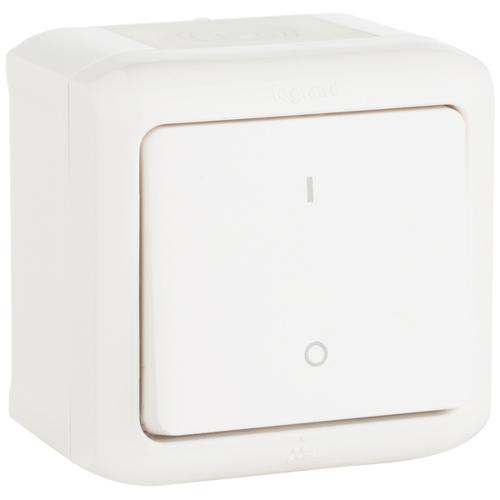 Quteo Выключатель одноклавишный IP44 наружный белый двухполюсный (782309)