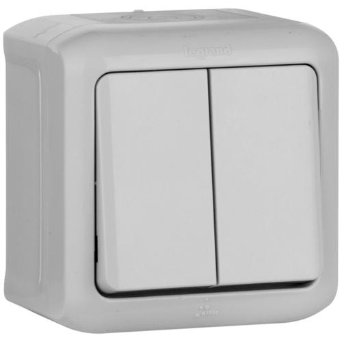 Quteo Выключатель двухклавишный наружный IP44 серый 10А (782332)