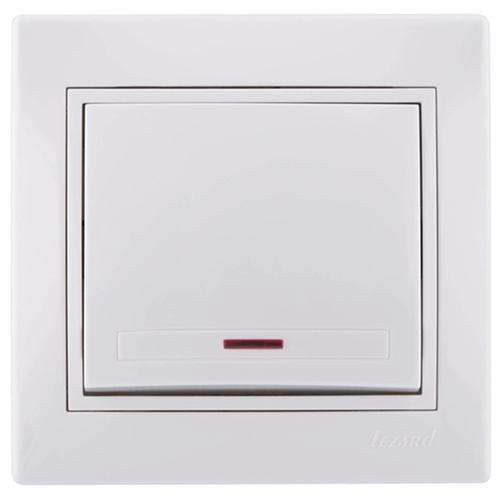 Mira Выключатель одноклавишный с подсветкой белый с белой вставкой (701-0202-111)