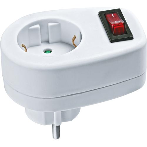 Переходник с выключателем 1гнездо NAD-1E-СS-WH (94669)