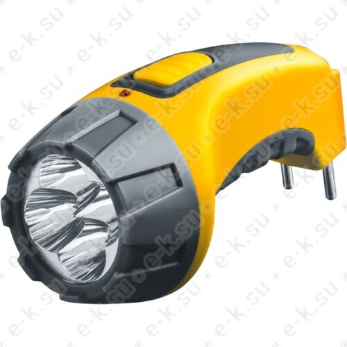 Фонарь светодиодный NPT-CP03-ACCU 4LED аккумуляторный с вилкой для зарядки пластик (94951)