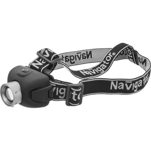 Фонарь светодиодный NPT-H06-3AAA 1LED 5Вт налобный пластик+металл (94913)