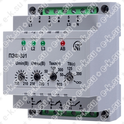 Реле напряжения ПЭФ-301 на DIN-рейку регулируемое электронное переключение фаз