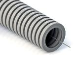 Труба гофрированная ПВХ 16 мм серая с протяжкой Строительная (100м) (031600)