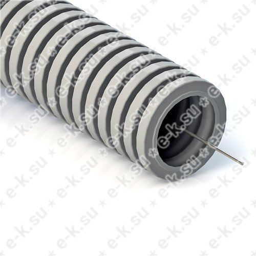 Труба гофрированная ПВХ 20 мм серая с протяжкой Строительная (100м) (032000)