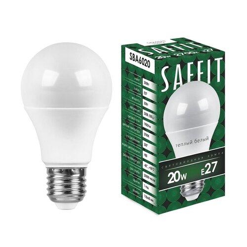 Лампа светодиодная LED 20Вт Е27 теплый, SBA6020 (55013) SAFFIT