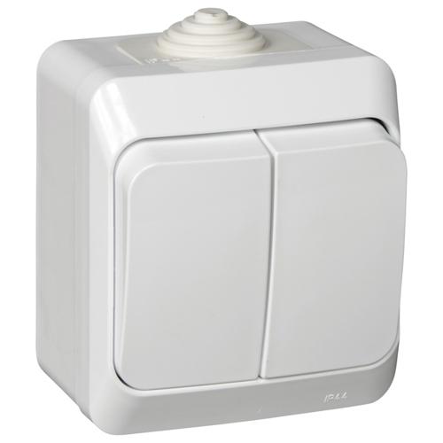 ЭТЮД Выключатель 2-клавишный наружный IP44 белый