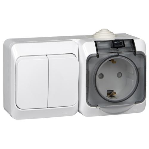 ЭТЮД Блок: Выключатель 2-клавишный + Розетка наружная с заземлением со шторками IP44 белый