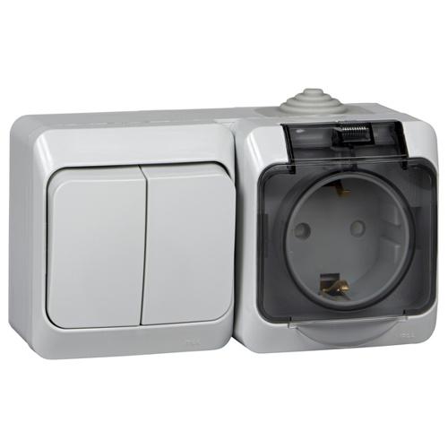 ЭТЮД Блок: Выключатель 2-клавишный + Розетка наружная с заземлением со шторками IP44 серый