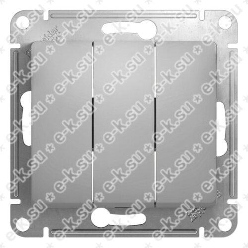Glossa Выключатель 3-клавишный в рамку алюминий сх.3