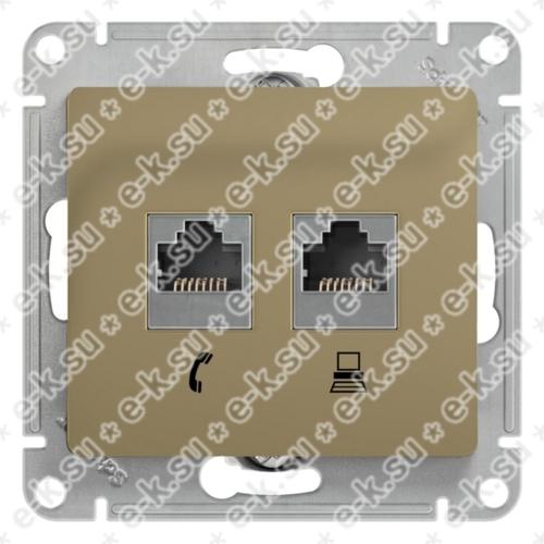 Glossa Розетка телефон/компьютер RJ11+RJ45 категория 5е в рамку титан
