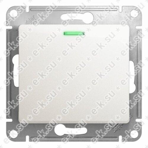 Glossa Выключатель 1-клавишный с подсветкой сх.1а перламутр в рамку