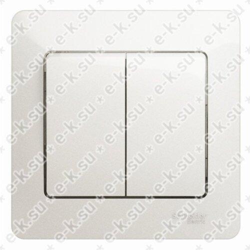 Glossa Выключатель 2-клавишный, сх.5, 10АХ, в сборе, перламутр