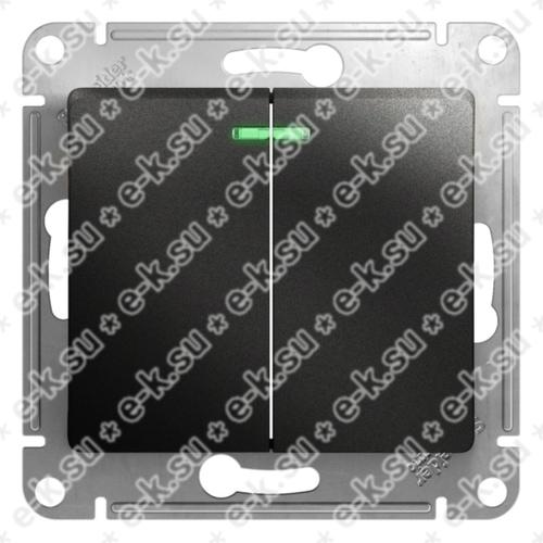 Glossa Выключатель 2-клавишный с подсветкой сх.5а антрацит в рамку
