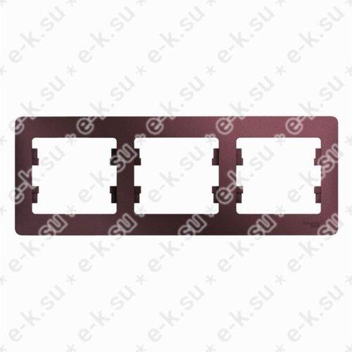 Glossa Рамка 3-постовая, горизонтальная, баклажановый