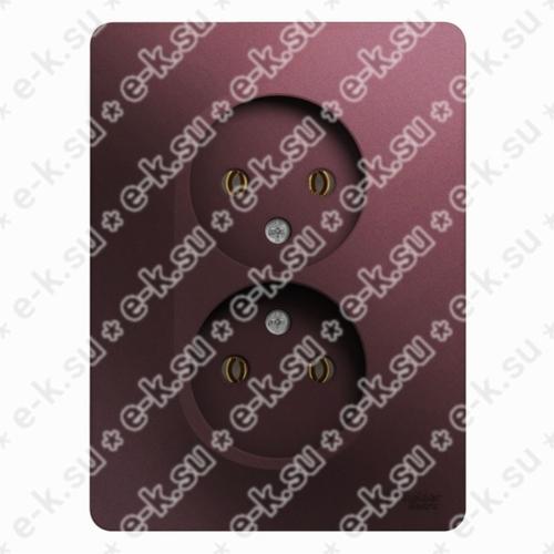 Glossa Розетка двойная без заземления,16А, 250В, в сборе, баклажановый