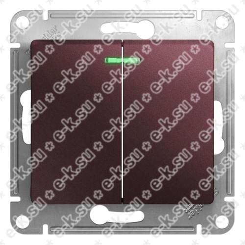 Glossa Выключатель 2-клавишный с подсветкой,сх.5а,10AX, механизм, баклажановый