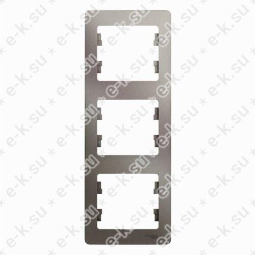 Glossa Рамка 3-постовая, вертикальная, платина