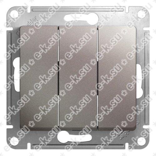 Glossa Выключатель 3-клавишный,сх.1+1+1,10AX, механизм, платина