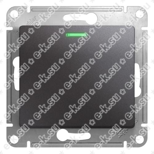 Glossa Выключатель 1-клавишный с подсветкой,сх.1а,10AX, механизм, графит