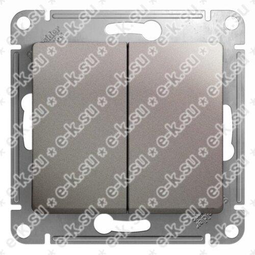 Glossa Переключатель 2-клавишный,сх.6/2,10AX, механизм, платина