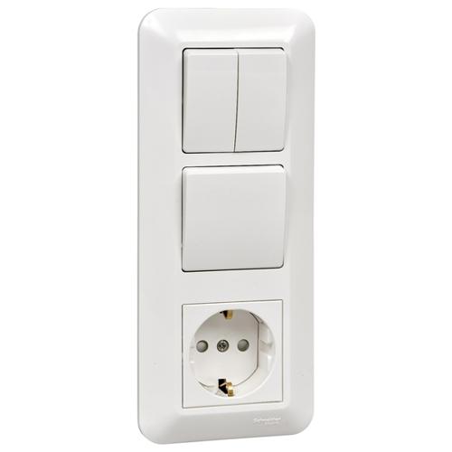 ПРИМА Блок скрытой установки: Розетка с заземлением со шторками + Выключатель 1-клавишный + Выключатель 2-клавишный, белый