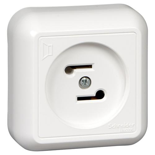 ПРИМА Радиорозетка открытой установки, белый, индивидуальная упаковка