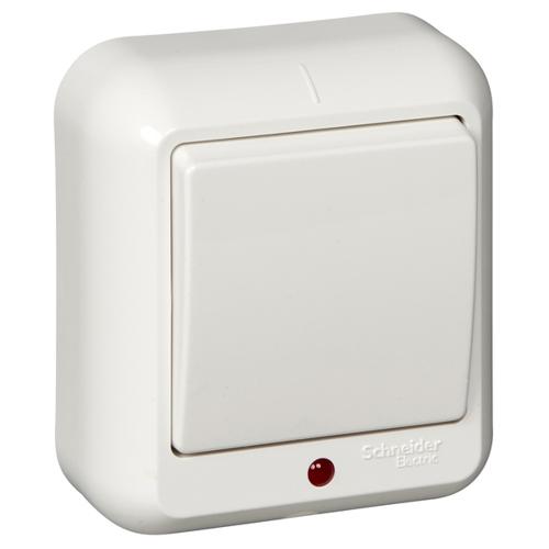 ПРИМА Выключатель 1-клавишный открытой установки с подсветкой, монтажная пластина, 6А, белый