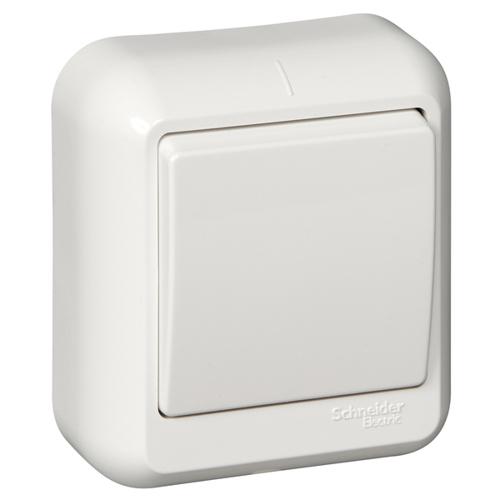 ПРИМА Выключатель 1-клавишный открытой установки, изолирующая пластина, 6А, белый, индивидуальная упаковка