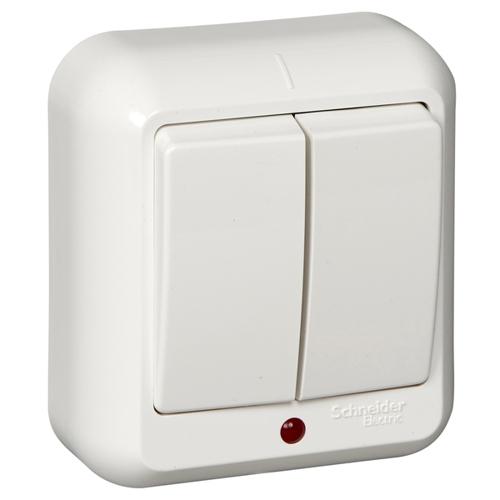ПРИМА Выключатель 2-клавишный открытой установки с подсветкой, изолирующая пластина, 6А, белый