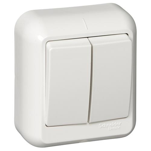 ПРИМА Выключатель 2-клавишный открытой установки, изолирующая пластина, 6А, белый, индивидуальная упаковка