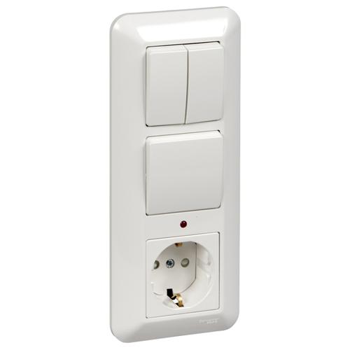 ПРИМА Блок скрытой установки: Розетка с заземлением со шторками + Выключатель 1-клавишный + Выключатель 1-клавишный, белый